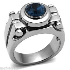 Mens Round Blue Mechanic Silver Stainless Steel Ring