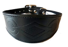 4doggies Black Leather Retro Design Whippet Collar Greyhound Dog Collar