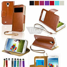 Flip Smart View Wallet Stand Case Cover For Samsung Galaxy S4 SIV i9500 + Stylus