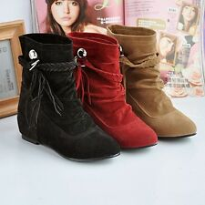 Girl's Lovely Comfortable Mid-Calf Boots Round Toe Low Heel Shoes 3 Colors #798