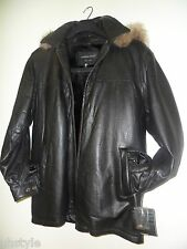 Tanners Avenue Men Leather Jacket W/Removable Linning & Hood, Italy, Size S