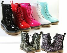 Women Fashion Mid Calf Round Toe Lace Up Combat Boot Shoes Camouflage Cherry