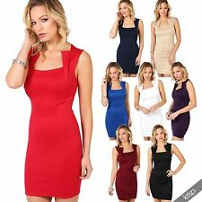 Womens Fitted Bodycon Mini Dress Sexy Slim Fit Party Outfit Business Wear USA