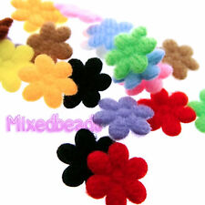 "*U PICK* 100-110 Felt Flower 7/16"" applique padded fabric scrapbook hair craft"