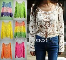 Women Sheer long Sleeve Embroidery Floral Lace Crochet T-Shirt Top Blouse S-XL