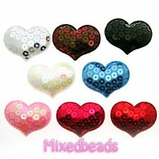 *U PICK* 30-40 pcs Sequin Heart Padded Applique hair scrapbook fabric craft trim