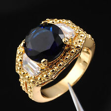 Size 9,10,11 Jewelry Mens Sapphire 10KT Yellow Gold Filled Three-Stone Ring