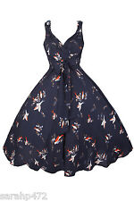 KUSHI RETRO 50'S STYLE SWING ROCKABILLY VINTAGE SWING DRESS NEW SIZE 10-20 FAB