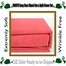 5 Sizes 1000TC Easy Care Microfibre Super Soft Sheet Set,Quilt Cover Set-Cherry