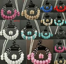 Many Colours Shamballa Bracelet&Earrings&Necklace Set Czech Crystal Disco Ball