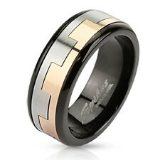 Stainless Steel Men's Black 2-Tone Square Link Pattern Spinner Band Ring