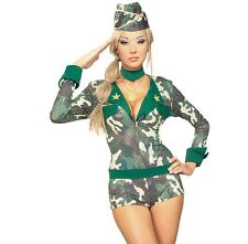 Ladies Army Fancy Dress Soldier Costume XS, S & M  RRP £29.99 1st Class Postage