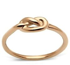 Rose Gold Plated 316L Stainless Steel Knot Ring Band Size 5-10