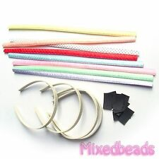 "*U PICK* 4-8 set Satin Polka Dot Headband Fabric Cover 9/16""+Plastic Hair Band"