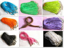 Wholesale Lot/Bulk Organza Ribbon Necklace Cords Colour Alloy Clasp 45cm + 5cm C