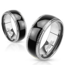 Stainless Steel Black & Silver Milgraine Edged Wedding Band Ring Size 5-14