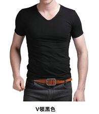 New Men's Gentle Slim Fit V-Neck Short Sleeve Bottoming Cotton Casual T-Shirt,T1