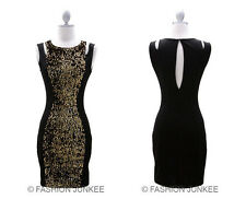 BLACK GOLD CENTER SEQUIN DRESS Vintage Inspired Body Con Mini Cocktail S M  L