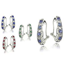 Sterling Silver 2.5ct Created Oval Clutchless Earrings - 4 Colors