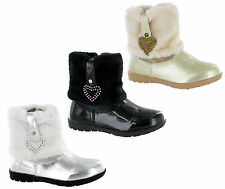 GIRLS RSB FASHION SNOW WINTER FUR ANKLE SIZE ZIP SHINY SMART BOOTS UK 5-12