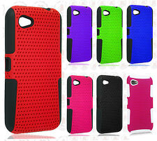 For HTC First  MESH HYBRID Hard Silicone Rubber Skin Case Phone Cover