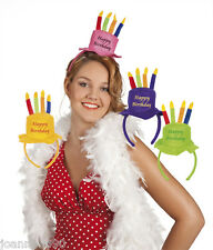 ADULT LADIES OR KIDS HAPPY BIRTHDAY PARTY FANCY DRESS HAT HEADBAND WITH CANDLES