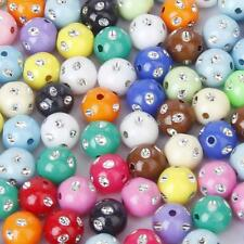 100 Pcs Mixed Color Acrylic Round Spacer Beads Ball Charms DIY Jewellry Findings