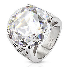 Stainless Steel Large 9 Carat Round Clear CZ Ring Size 6-10