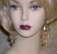Gold Blue Pink Red Green Black Gold Tone Tribal Belly Dance Pierced Earrings $9