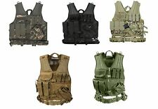 Black Olive Drab ACU Digital Camo Coyote Tan MultiCam Cross Draw MOLLE Tac Vest