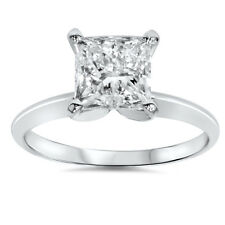 1.07CT Solitaire Princess Cut Diamond Engagement Ring 14K White Gold
