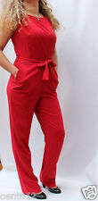 NEW NEXT RED CREPE JUMPSUIT PLAYSUIT  SELF TIE BELT OCCASIONAL OFFICE EVENING