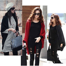 Women's Batwing Cardigan Cape Poncho Knit Laidies Poncho Sweater Tops Shawl Coat