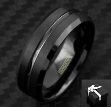 Tungsten Men's Black Center Channel Stripe Comfort Fit Band Ring Size 9-13