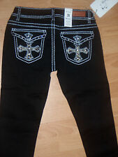 NEW WOMENS BLACK DIAMONTE JEANS RELIGION CROSS TRUE FIT SIZES 6 TO 14