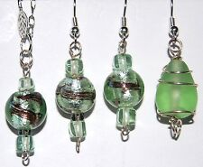 COOL GREEN ART GLASS BEADED EARRINGS B8 Free US Ship MADE IN USA