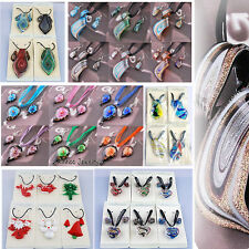 LOTS Twisty Heart STRIP FOIL Murano Glass Pendant Necklace Earrings Jewelry Sets