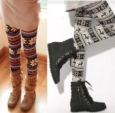 casual Knitted Elastic Snowflake Nordic Reindeer Tights Pants Trousers Leggings