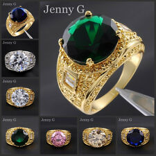 Jenny G Jewelry Men's 18K Yellow Gold Filled Colorful Big Round Gem Stone Ring