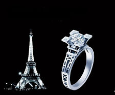 Size 6-9 Ladys 10KT White Gold Filled White Sapphire Paris Eiffel Tower Ring