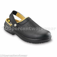Esd E113 Work Safety Black Slip On Clogs Shoes Composite Toe Cap Mens Ladies