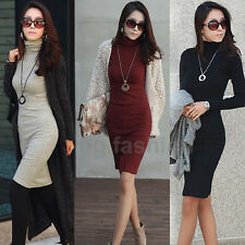 New OL Women Turtleneck Long Sleeve Knit Slim Sweater Bodycon Dress Winter S-XL