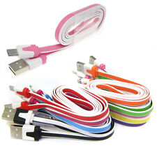 1M 3FT Micro USB Flat Noodle Data Sync Charger Cable for Galaxy S4 Note3 HTC Lot