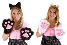 Cute Kitty Fuzzy Paws Gloves Animal Hands CAT Costume Adult or Child White BLACK