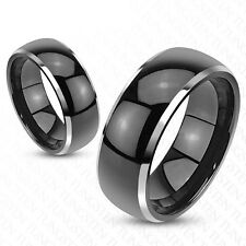 Tungsten Black Domed with Beveled Silver Edges Wedding Band Ring Size 5-13