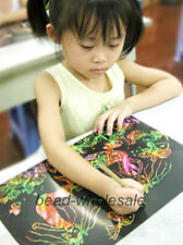 10Sheets 16K Scratch Colorful Art Paper Painting Paper with Free Drawing Stick