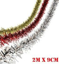 Deluxe CHUNKY CHRISTMAS TINSEL Red Silver Gold Blue Tree Decoration Xmas Garland