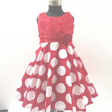 R3123 Apple Reds Polka Dots Christmas Party Girls Dress SIZE 2,3,4,5,6,7,8,9,10Y