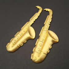 2 vintage brass stampings long saxophones bright musical instruments 58mm