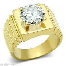 Round 6.40ct Clear CZ Stone 18kt Gold EP Mens Ring